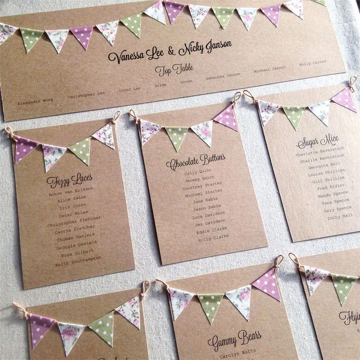 Bunting is a popular way give a wedding a vintage feel. This cute table plan from Nessa Noelle Wedding Stationery has lots of adorable mini-bunting.
