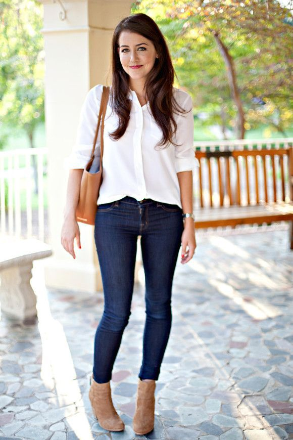Fall Staples   Dallas Wardrobe   White top, jeans, booties and a cute bag...yes please!