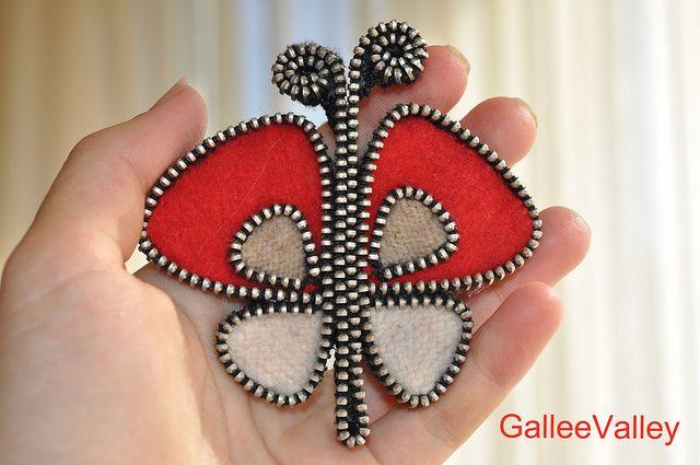Felt Zipper Pins | Felt and zipper butterfly brooch | Flickr - Photo Sharing!