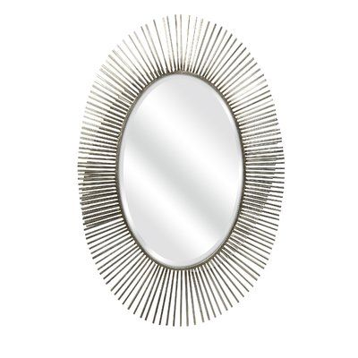 Orren Ellis Athens Silver Leaf Abstract Wall Mirror   Products