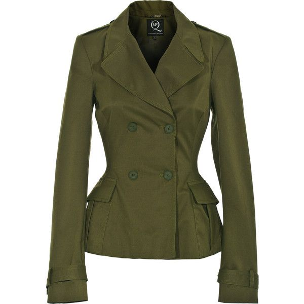McQ by Alexander McQueen Soldier Lady Green Waisted Trench Jacket ($375) ❤ liked on Polyvore featuring outerwear, jackets, coats, blazers, coats & jackets, blazer jacket, parka jacket, military blazer, military trench coat and green military jacket