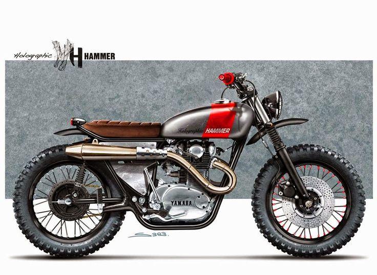 Yamaha Scrambler M0T0 Sketches:: Holographic Hammer | Pin by 8negro #motorcycles #scrambler #motos | caferacerpasion.com