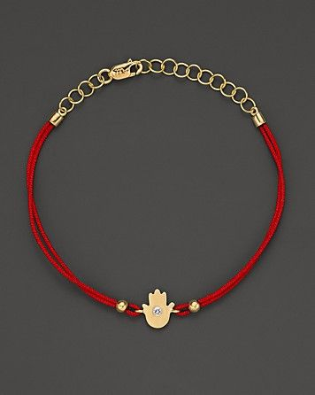 Meira T Diamond And 14K Yellow Gold Hamsa Hand Red String Bracelet   Bloomingdale's