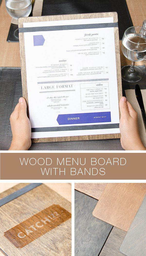 "Our Bandview Menu Holders are made from 1/4"" baltic birch plywood and are hand stained. Available in various sizes and colours. Customizable with your logo."