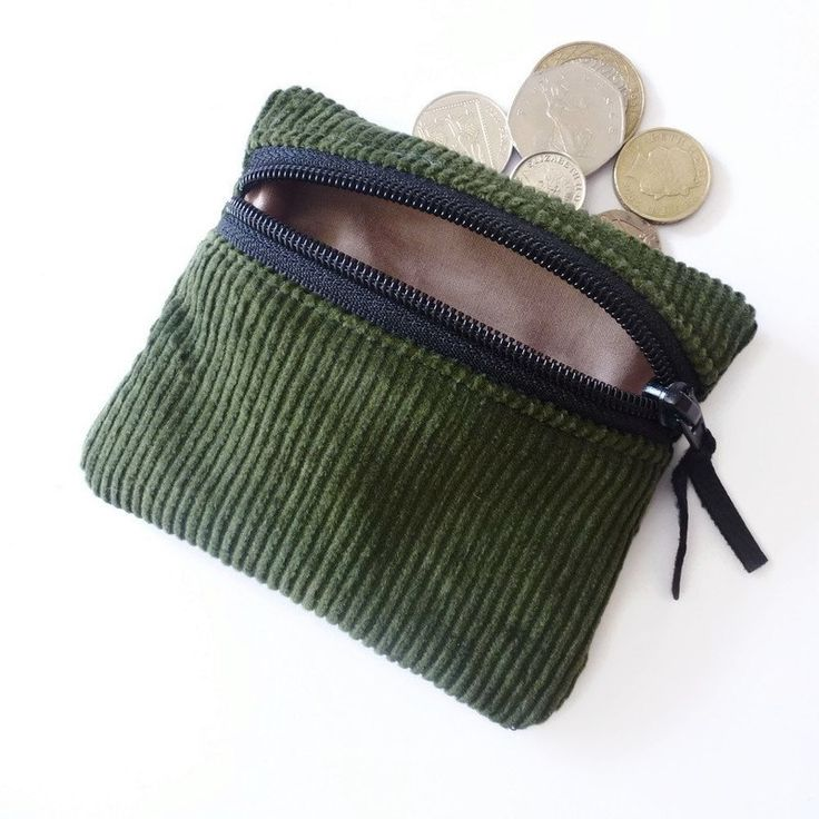 Olive Green corduroy coin purse