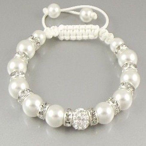 """""""Uber Shamballa"""" Bracelet - White Pearl"""