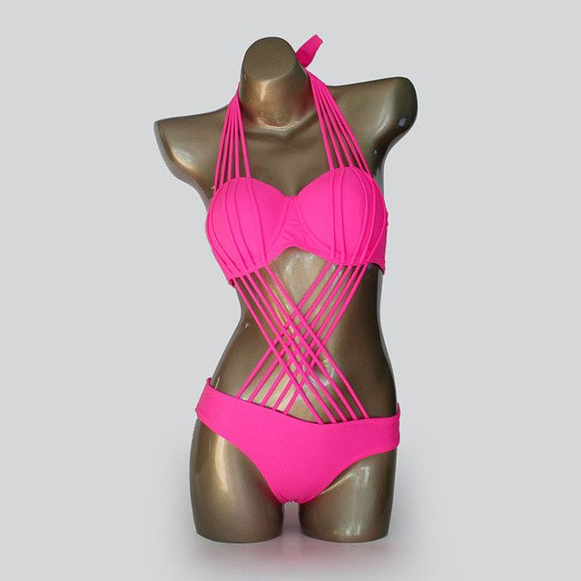 One Piece Swimsuit Sexy Brazilian Push Up Swimwear Swim Suit Monokini Bandage Trikini Strappy Bathing Suit Women's Swimming Suit