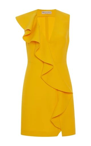 Medium emilio pucci yellow ruffled v neck dress