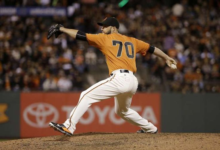 Giants-Dodgers tickets plunge to $6 after brutal start  -  April 24, 2017   San Francisco Giants pitcher George Kontos throws against the Philadelphia Phillies during a baseball game in San Francisco, Friday, July 10, 2015. (AP Photo/Jeff Chiu)