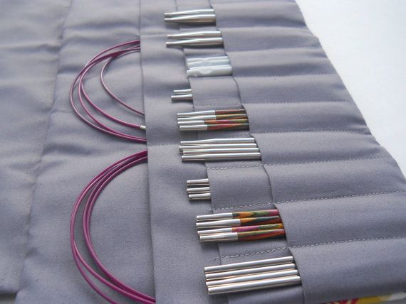 xl interchangeable knitting needle casegrey by rosevans on Etsy
