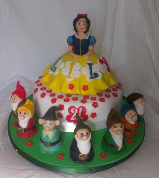 Snow White and The Seven Dwarfs birthday cake, the dwarves are made for walnut whips covered in modelling chocolate.