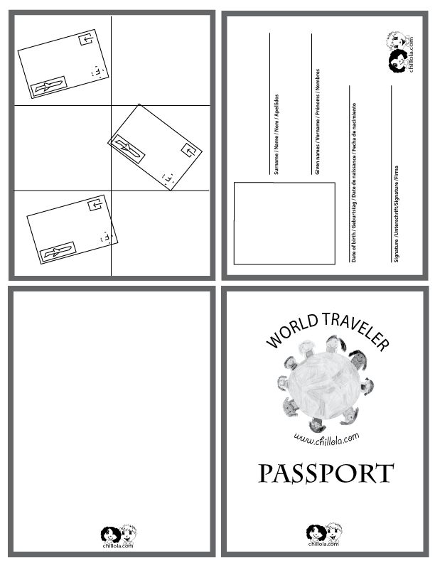 passport template - passport for kids - passport - http://www.chillola.com. Maybe use this everyone time we sing a song from a different country? - follow my profile for more and visit my website