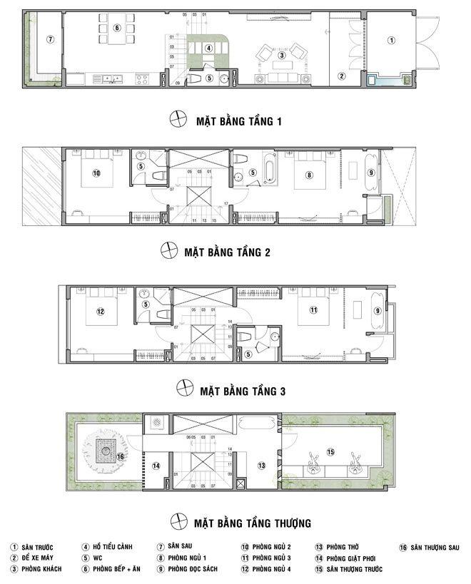 Thiết kế nhà ống 4 tầng có chừa sân trước, sân sau