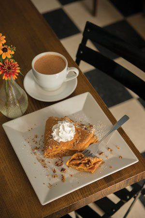 A perfect pumpkin cheesecake crepe from Rachel's Café & Creperie in Lancaster