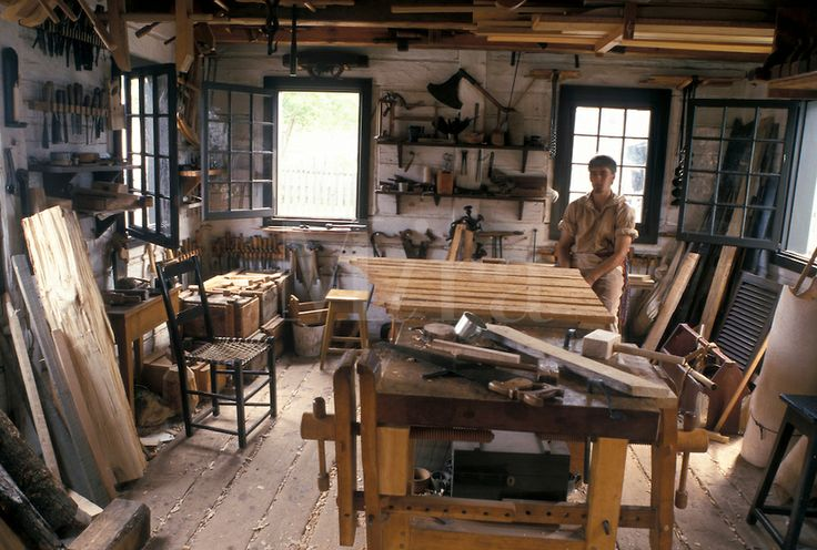 Joiner's shop. Like the extra wide bench with vises on both sides, especially since both my boys are lefties!