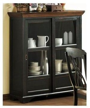 Ohana Curio with 2 Shelves (Antique Black) - transitional - Buffets And Sideboards - ivgStores