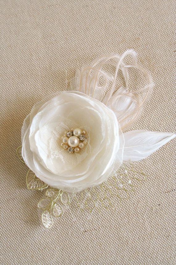 Ivory Gold Bridal Hair Accessory, Wedding Hair Flower, Organza Flower Hair Clip, Bridal Hairpiece, Lace Gold Bridal Fascinator