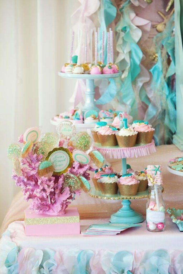 Mermaid + Under The Sea 1st Birthday Party via Kara's Party Ideas | KarasPartyIdeas.com (32)