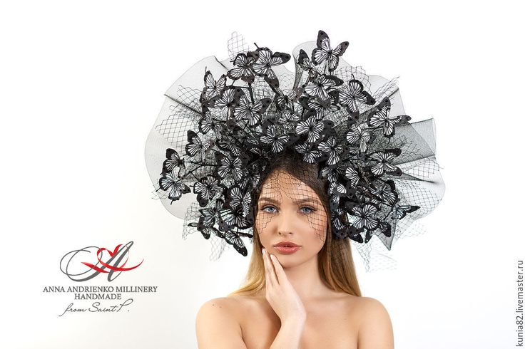 """Купить Эксклюзивный головной убор для скачек """" Бабочка"""" - чёрно-белый, однотонный, шляпа"""