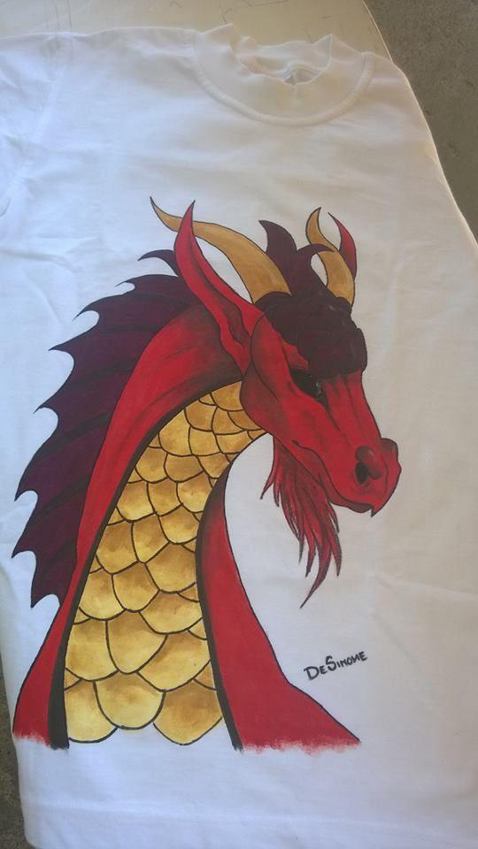 Maglia con drago rosso