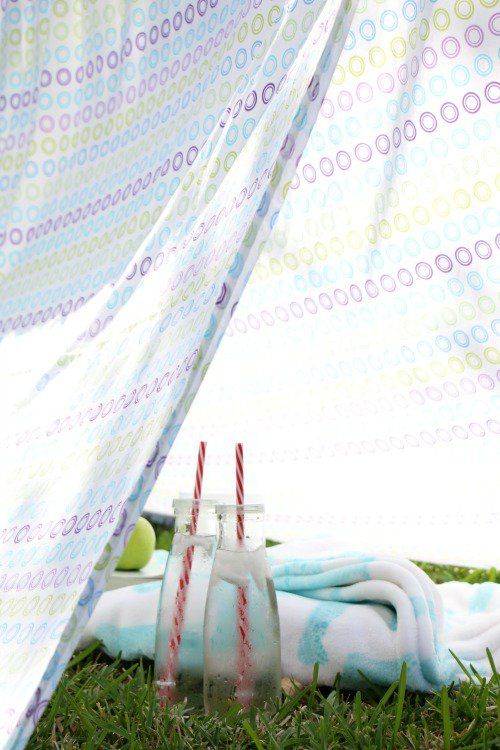 DIY sheet tent kit for kids made with dollar store items