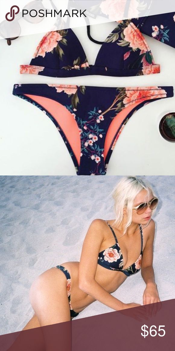 🔥HOT 🔥 Floral Navy Bikini Set ✿ Navy floral neoprene bikini set  ✿ Moderate coverage bottoms  ✿ Multiple colors available  ✿Neoprene - Great quality!  ✿ NWT- Never worn  ✿ Extremely flattering bikini  ✿Please feel free to ask any questions triangl swimwear Swim Bikinis
