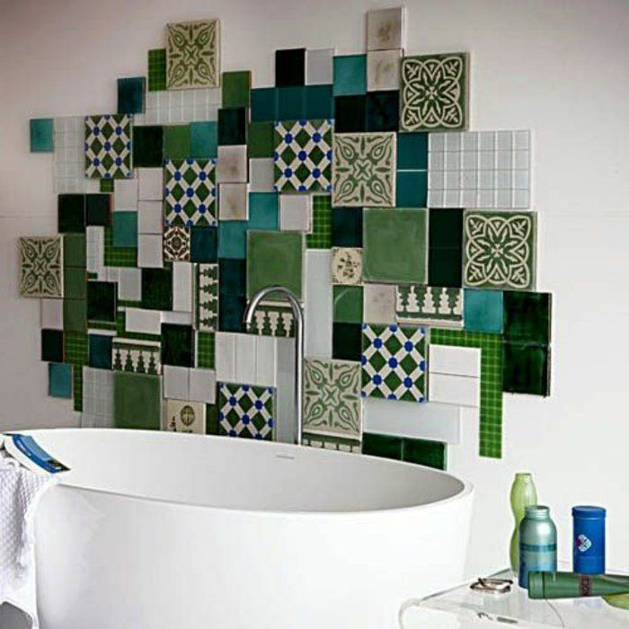 Beautiful Decor Mural Salle De Bain #10: Une Jolie Decoration Avec Carrelage Mural Adhesif