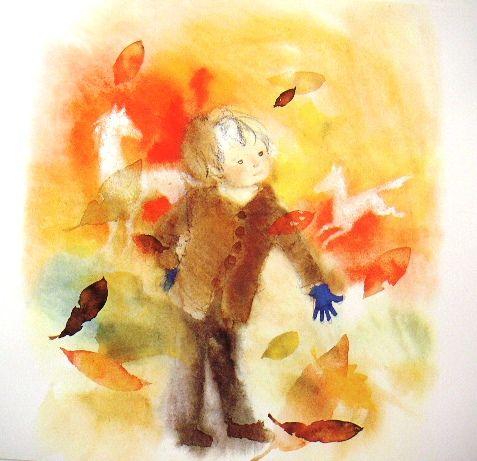 いわさきちひろ「秋の日の幻想」オフセット複製・木製額付即決_木枯らしの舞う日に