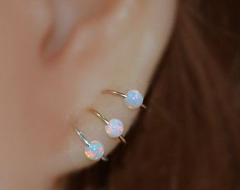 Sterling Silver Opal Nose Ring, 20 Gauge Small Hoop Earring, cartialge, helix, tragus jewelry 20g handcrafted nose piercing