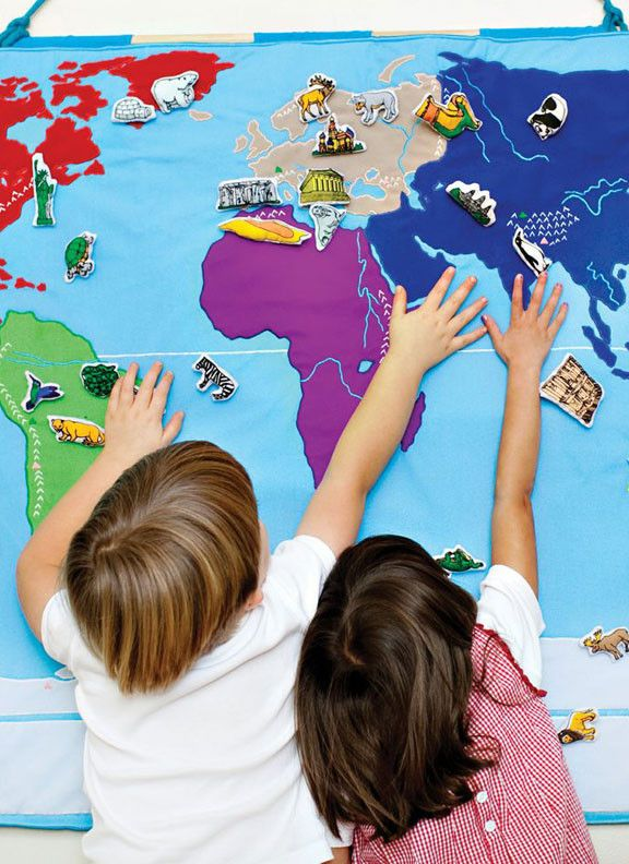 """children's fabric map with embroidered detailed lakes, mountain ranges, mountain tops, longest rivers of a country, all marked in a """"key"""" that makes it easy to learn. you can add sets of people, landmarks and animals that can be moved around. // precious little things"""