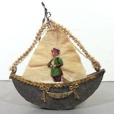 3-D DRESDEN Christmas Ornament • Early 1900s • BOAT / GONDOLA w CHROMO Sailor