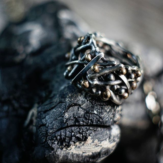 Ring from Wilderness series. Oxidized sterling silver, bronze.
