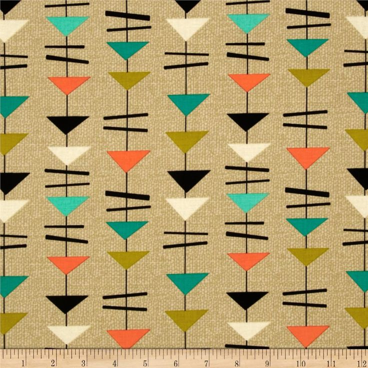 Michael Miller Jug or Not Retro Mobiles Vanilla from @fabricdotcom From Michael Miller, this fabric is perfect for quilting, apparel and home decor accents. Colors include orange, jade, citrine, black, ivory and vanilla.