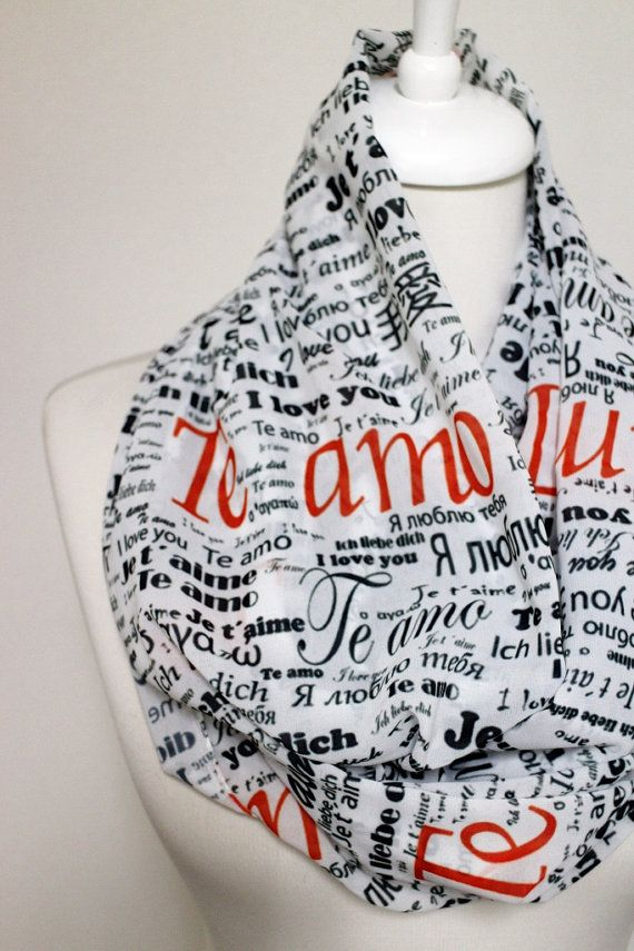 Handwriting Love Pattern Chiffon Infinity scarf, Circle scarf, Long Scarf, Valentines Day Gift Ideas For Her Him Women Fashion Accessories Te amo - I love you
