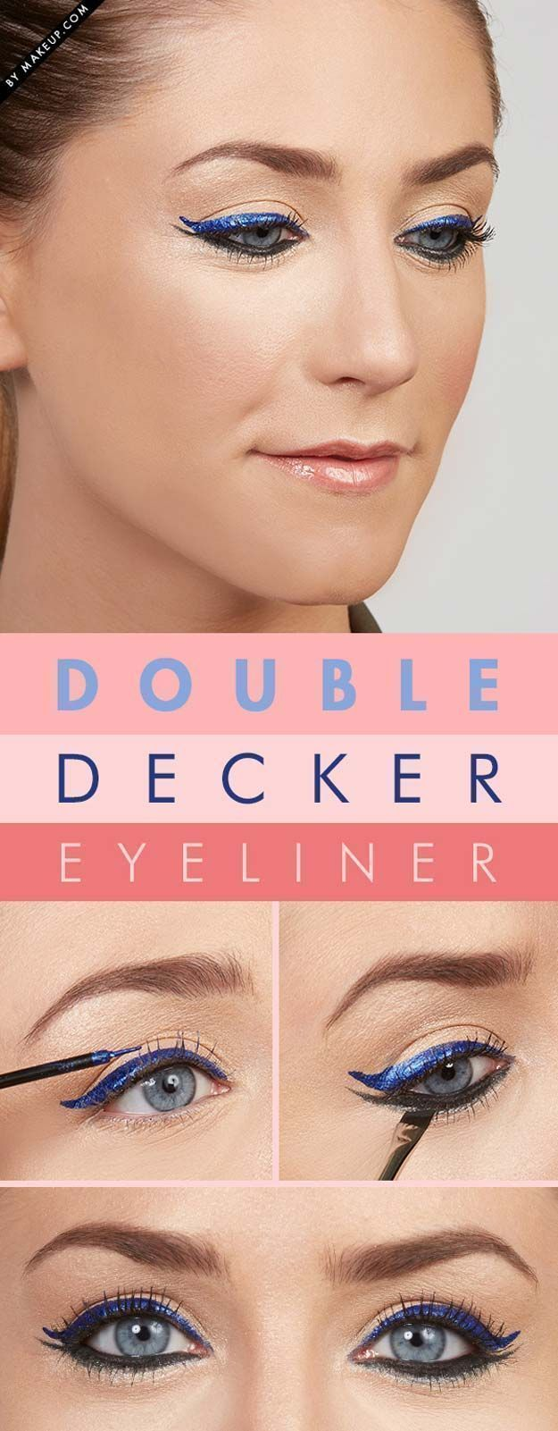Winged Eyeliner Tutorials - Tuesday Tutorial: Double Decker Eyeliner- Easy Step By Step Tutorials For Beginners and Hacks Using Tape and a Spoon, Liquid Liner, Thing Pencil Tricks and Awesome Guides for Hooded Eyes - Short Video Tutorial for Perfect Simple Dramatic Looks - thegoddess.com/winged-eyeliner-tutorials #wingedlinereasy #wingedlinertricks #wingedlinersimple