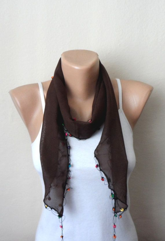 brown scarf white flower blue purple pink beads  by DamlaScarf