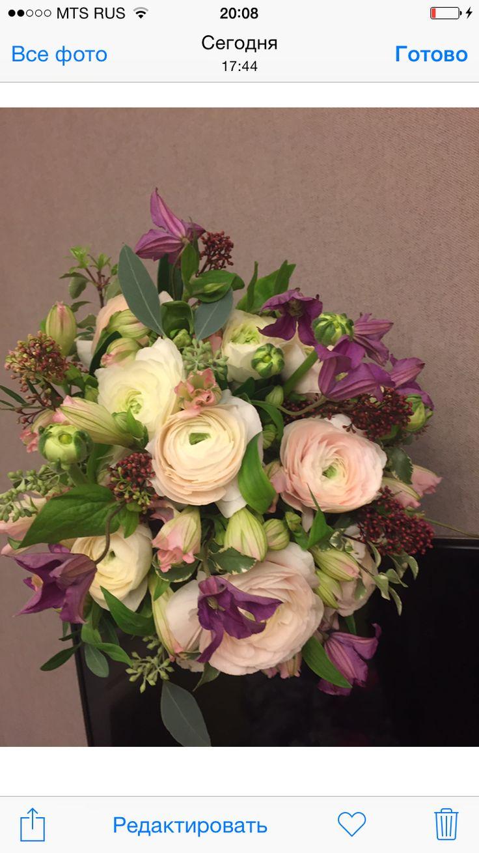 Wedding party flowers ранункулюс клематис поддержка к платью помолвка букет оформление свадьба свадебный букет лиловый Айвори ваниль