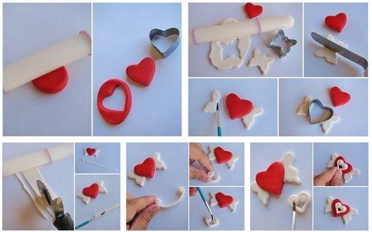 Un petit cœur avec des ailes à créer en pâte polymère
