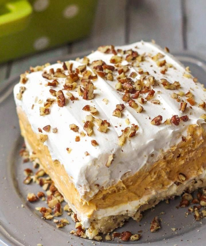 PUMPKIN DELIGHT Ingredients 1 cup Flour ½ cup Butter (softened) ½ cup plus ¼ cup…