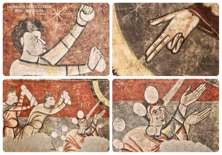 Lapidación de San Esteban, pintura de estilo #románico actualmente conservada en el MNAC en Barcelona http://arteviajero.com/