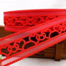 Doprava zdarma (45mm) červená srdiečka dutá list stuha polyester karikatúra páska DIY haribow módne doplnky, lk102 (Čína (pevninská časť))