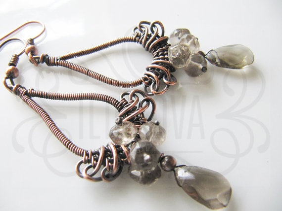 Handmade wire wrapped copper smoky quartz earring by ildikova, $29.00