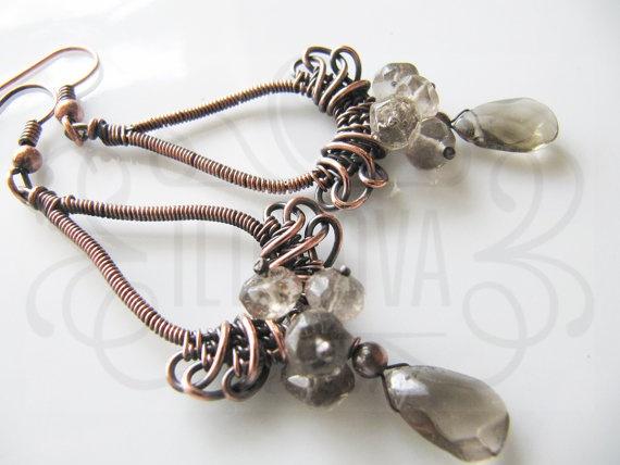 Handmade wire wrapped copper smoky quartz earring by ildikova, $29.00