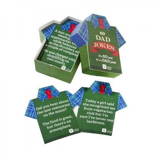 Dad Jokes In A Retro Jumper Box. Fill your dad's father's day with even more ammunition to laugh at his own jokes as he cracks out more hilarious dad jokes and one liners! the perfect father's day present for dad's and grandads with a light hearted comedica-ly challenged sense of humour. Each retro jumper box contains 60 jokes on top shaped cards. #fathersday #fathersdaygifts #giftsforhim #dad #daddy #grandad #newdad #dadjokes #funnygifts #jokes