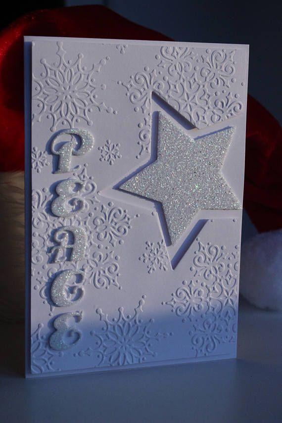 Handmade Christmas card Card with star Christmas PEACE