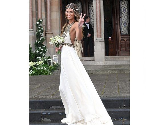 Aoife Cogan S Wedding Dress By Amanda Wakely Look 04 10 From The Rahjastan Line A Silk Georgette Halterneck