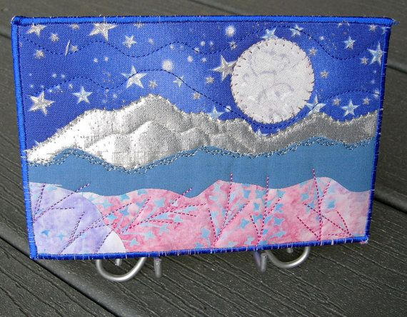Fabric Postcard Moon and Stars Quilted Fabric by SewUpscale