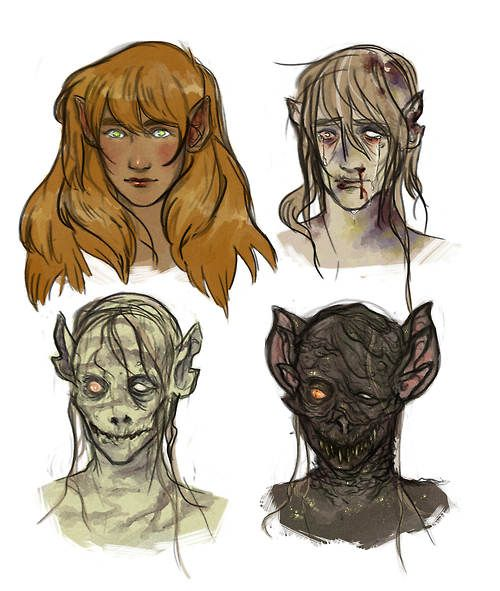 From Elf to Orc. http://beguilingblackness.tumblr.com/post/89875531422/scorpionhoney-they-were-once-elves-designs