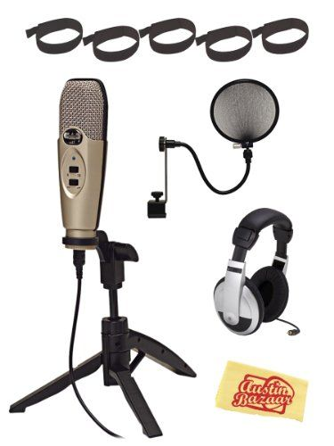 CAD U37 USB Condenser Microphone Bundle with Pop Filter, Headphones, Velcro Cable Ties, and Austin Bazaar Polishing Cloth CAD http://www.amazon.com/dp/B005URKEKY/ref=cm_sw_r_pi_dp_ZZDsub1ZM71EY