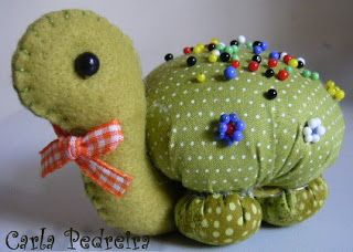 A how-to on making this cute little turtle pincushion..  It may be difficult to…